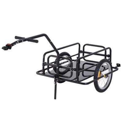 HOMCOM® Velo-Anhänger Transport Töffli Mofa Lastenanhänger | Fahrradanhänger | 156 x 72 x 82 cm | Schwarz