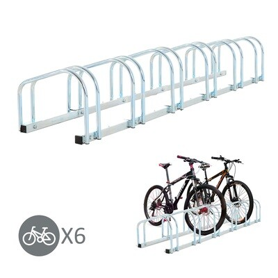 HOMCOM® Fahrradständer Velo-Ständer 6 Fahrräder Stahl verzinkt