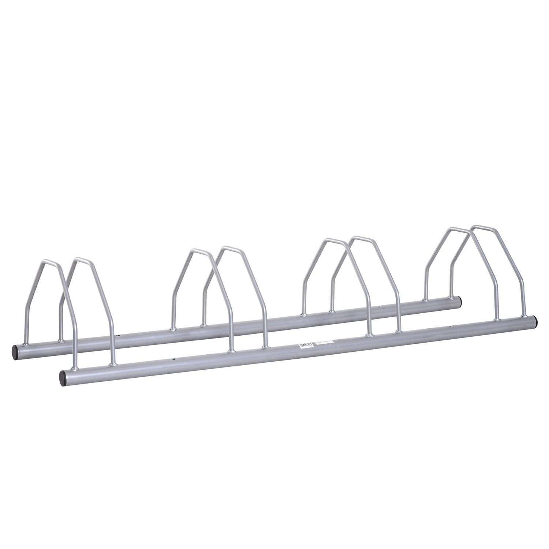 HOMCOM® FahrradständerVelo-Ständer Boden- und Wandmontage Stahl Silber 4 Fahrräder