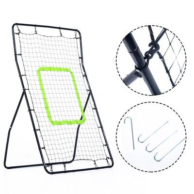 HOMCOM® Kickback Fußball Rebounder Tor Netz Stahl 75x126cm Schwarz