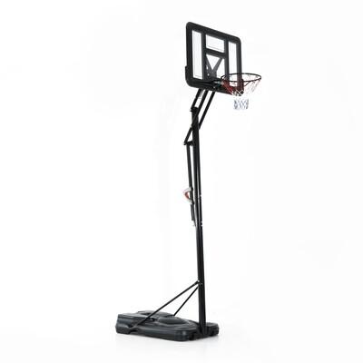 HOMCOM Basketballständer mit Rollen | Stahl, PE, PC | Korbhöhe 230–305 cm | Transparent und Schwarz