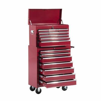 HOMCOM® Fahrbarer Werkstattwagen, abschließbar mit 16 Schubladen, rot