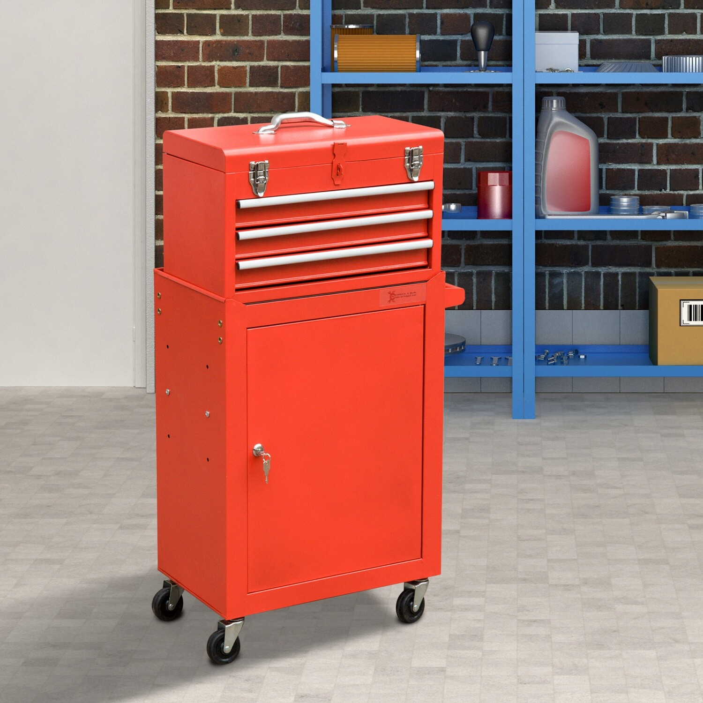 DURHAND® Werkstattwagen Werkzeugwagen mit 3 Schubladen 4 Rollen Stahl Rot