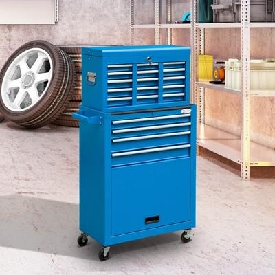 DURHAND® Werkstattwagen Werkzeugwagen mit 13 Schubladen 4 Rollen Stahl Blau