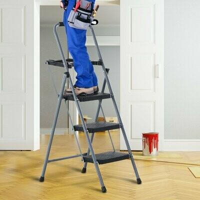 HOMCOM® Stufenleiter Trittleiter Klapptreppe mit Tablett Antirutsch Metall Grau 53 x 67 x 126 cm