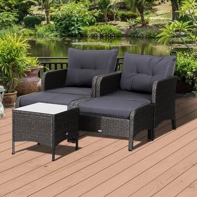 Outsunny® 5-tlg. Polyrattan Wicker Gartenmöbel Sitzgruppe Gartenset Sofagarnitur mit Kissen Dunkelgrau 2 x Sessel 1 x Couchtisch 2 x Hocker