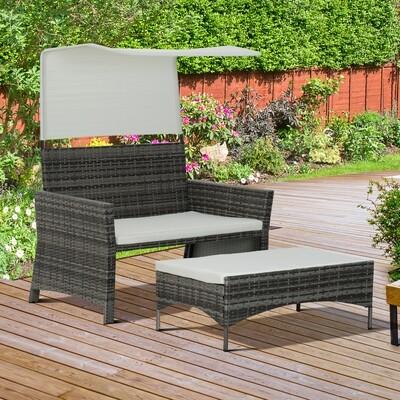 Outsunny® 2-tlg. Gartensofa Gartenmöbel Lounge Rattanmöbel Polyrattan / Wicker + Metall 2er-Sofa 1 x Hocker mit Sonnendach