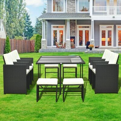 Outsunny® Polyrattan Gartenmöbel 27 tlg. 6 Stühle 4 Hocker mit Kissen