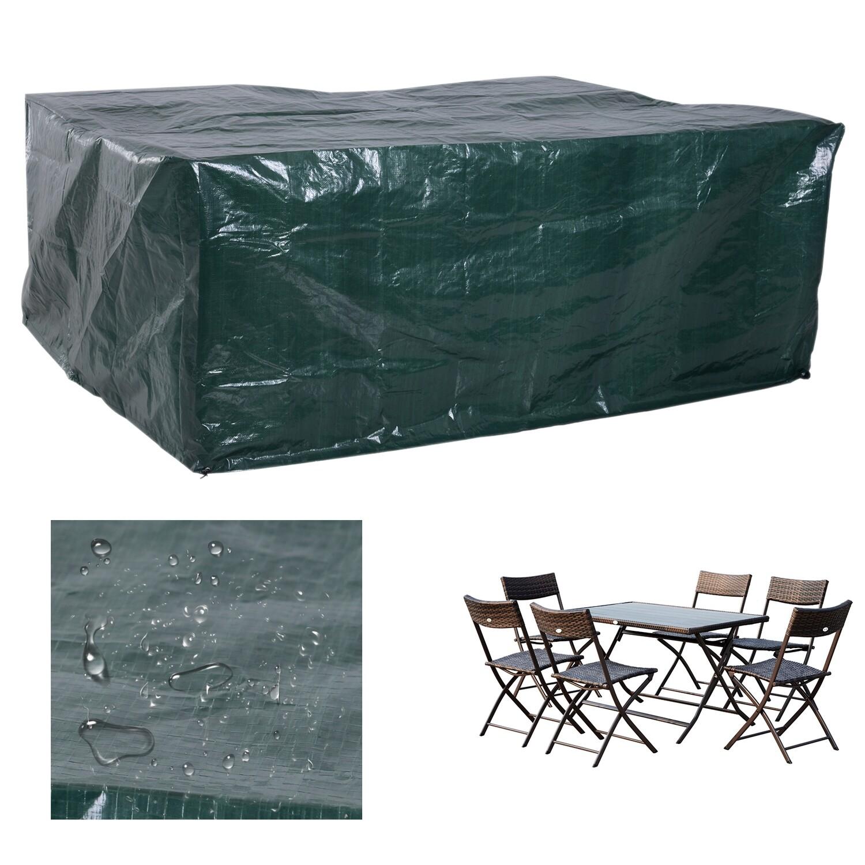 Outsunny® Abdeckplane Schutzhülle Gartenmöbel Abdeckhaube Wasserdicht UV-Schutz Rechteckig PE Grün 235 x 190 x 90 cm