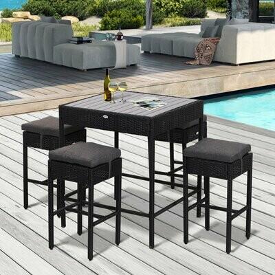 Outsunny® 5-teilige Essgruppe Sitzgruppe Esstisch Bistrotisch Bartisch Gartentisch Metall + Wicker / Polyrattan Schwarz mit 1 Tisch + 4 Hockern