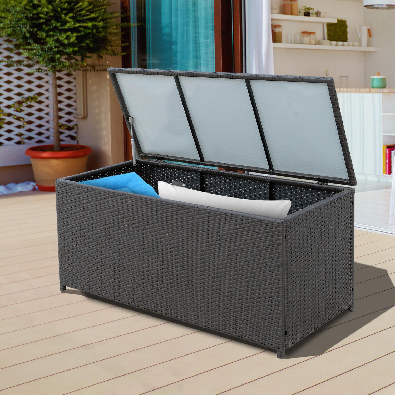 Outsunny® Wicker Polyrattan Auflagenbox Gartenbox Metall Braun