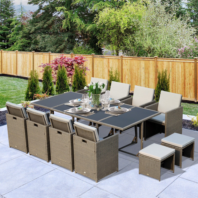 Outsunny® Wicker Polyrattan Gartenmöbel 33 tlg. Stahl Grau