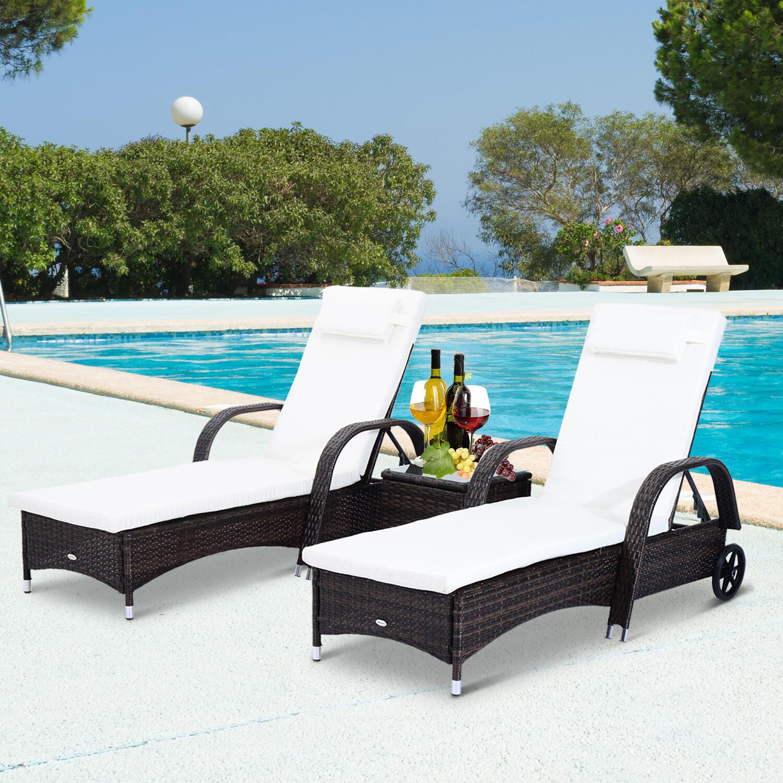 Outsunny® Sonnenliege Tisch 3er Set Gartenmöbel Wicker Polyrattan Braun