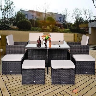 Outsunny® Wicker Polyrattan Gartenmöbelgruppe 21 tlg. Alu 4 Stühle & 4 Hocker inkl. Kissen