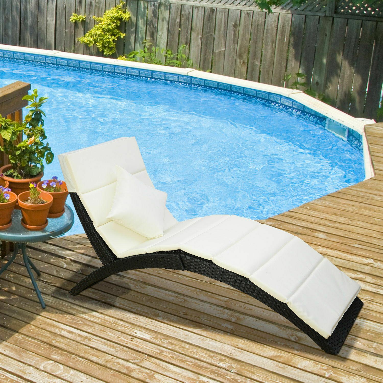 Outsunny® Wicker Polyrattan Garten-/Sonnenliege mit Kissen belastbar bis 180 kg