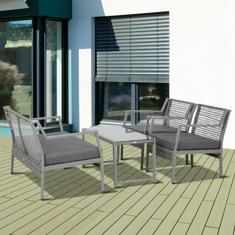 Outsunny® 4-tlg. Wicker Polyrattan Gartengarnitur Gartenmöbel Garten-Set Sitzgruppe Loungeset inkl. Sitzkissen Aluminium Grau