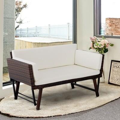 Outsunny® 2er Gartensofa Gartenmöbel Loungesofa Gartenbank aufklappbar Armlehne Wicker Polyrattan Braun 129 x 66 x 79 cm