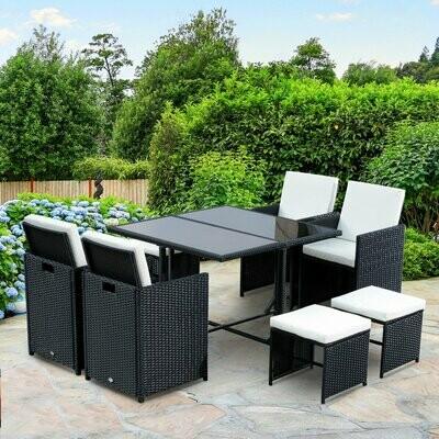 Outsunny® Wicker Polyrattan Essgruppe 21 tlg. Rattan Sitzgruppe 4 Stühle 4 Hocker inkl. Kissen