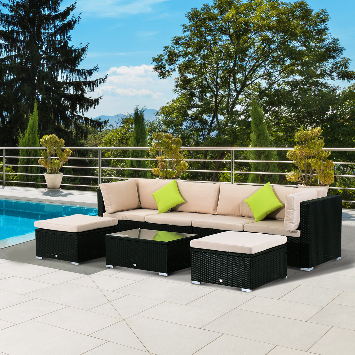 Outsunny®Wicker Polyrattan Gartenmöbel Lounge Set 21tlg.