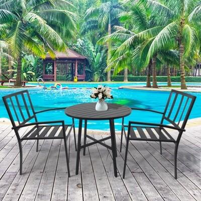 Outsunny® 3-teilige Essgruppe Sitzgruppe Esstisch-Set rund Tisch Metall Schwarz mit 1 Tisch + 2 Stühlen