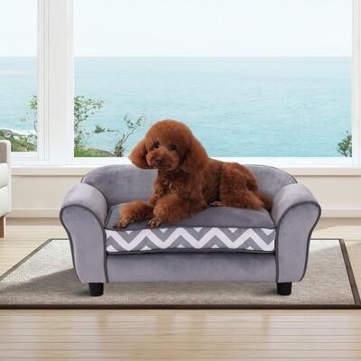 PawHut® Hundesofa Hundebett Hunde Couch Haustier Waschbar Erhöhte Füsse Samt Grau