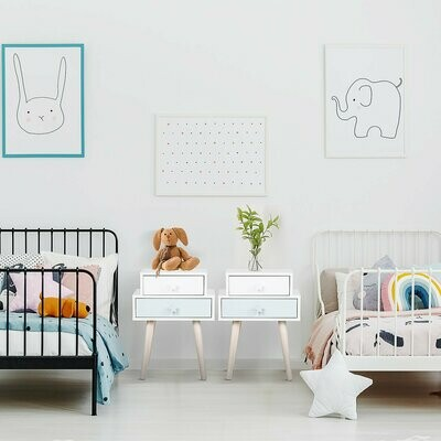 HOMCOM® Kinderzimmer Nachttisch 2er Set Beistelltisch Nachtschrank 2 Schubladen MDF Blau