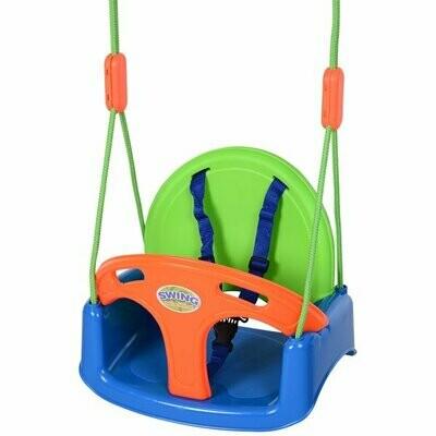 HOMCOM Kinderschaukel mit Sicherheitsgurt, Kleinkindschaukel, Orange, Blau, Grün