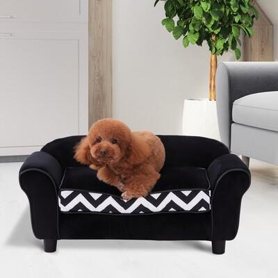 PawHut® Hundesofa Hundebett Hunde Couch Haustier Waschbar Erhöhte Füsse Samt Schwarz