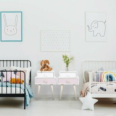HOMCOM® Kinderzimmer Nachttisch 2er Set Beistelltisch Nachtschrank mit 2 Schubladen MDF Rosa