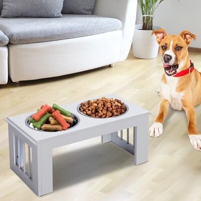 PawHut® Futternapf Futterschüssel Erhöhter Hundenapf 2 Näpfe Pflegeleicht Edelstahl Weiss