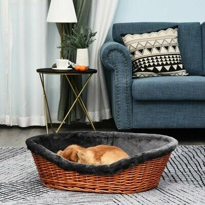 PawHut® Hundekorb Hundebett Hundekissen Katzenbett Weidenkorb mit Kissen Rattan Braun