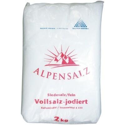 Grosspackung Alpensalz Vollsalz fein 10 x 2 kg = 20kg