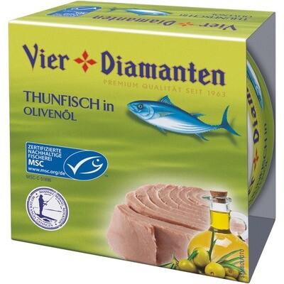 Grosspackung 4-Diamanten Thon / Thunfisch in Olivenöl 8 x 160g = 1.28 kg
