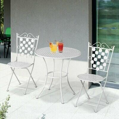 Outsunny® Sitzgruppe 3-teilige Essgruppe Gartenmöbel-Set 1 Tisch+2 Stühle Metall Weiss