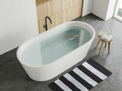 Badematte Set 2er schwarz weiss groß 80 x 50 cm 100% Baumwolle Badteppich Badvorleger Badezimmerteppich Chindi