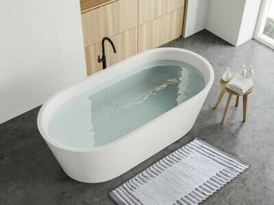 Badezimmerteppich Set 2er groß 80 x 50 cm 100% Baumwolle Badteppich Badematte Badvorleger Chindi weiss-grau