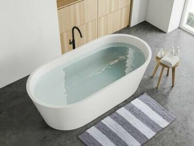 Badematte Set 2er grau weiss groß 80 x 50 cm 100% Baumwolle Badteppich Badvorleger Badezimmerteppich Chindi