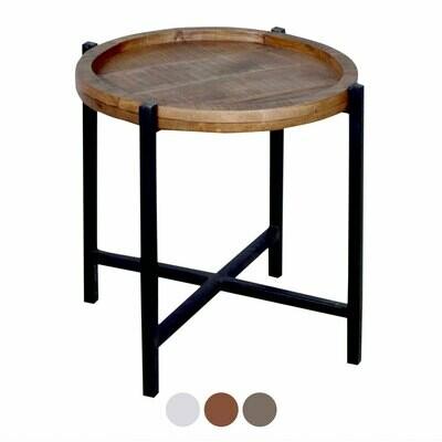 Beistelltisch Couchtisch Wohnzimmer-Tisch rund Omaha Metall-Gestell schwarz