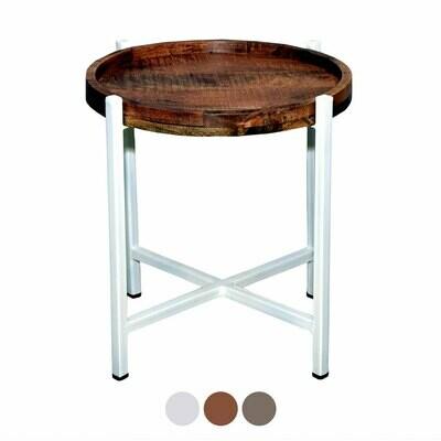Beistelltisch Couchtisch Wohnzimmer-Tisch rund Omaha tabacco Metall-Gestell weiss