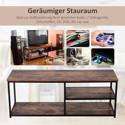 HOMCOM® TV Schrank, Lowboard, TV-Regal, im Industrie-Design, 3-Stufig, Spanplatte Natur 120 x B40 x H45 cm
