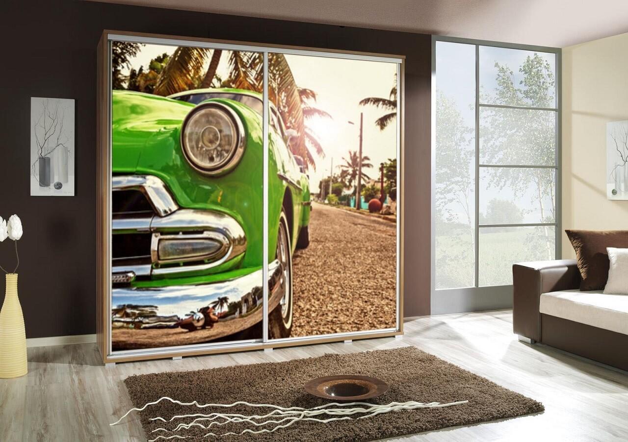 Schiebetürenschrank / Kleiderschrank mit Schiebetür PENELOPA 205cm Motiv: Auto / Car I