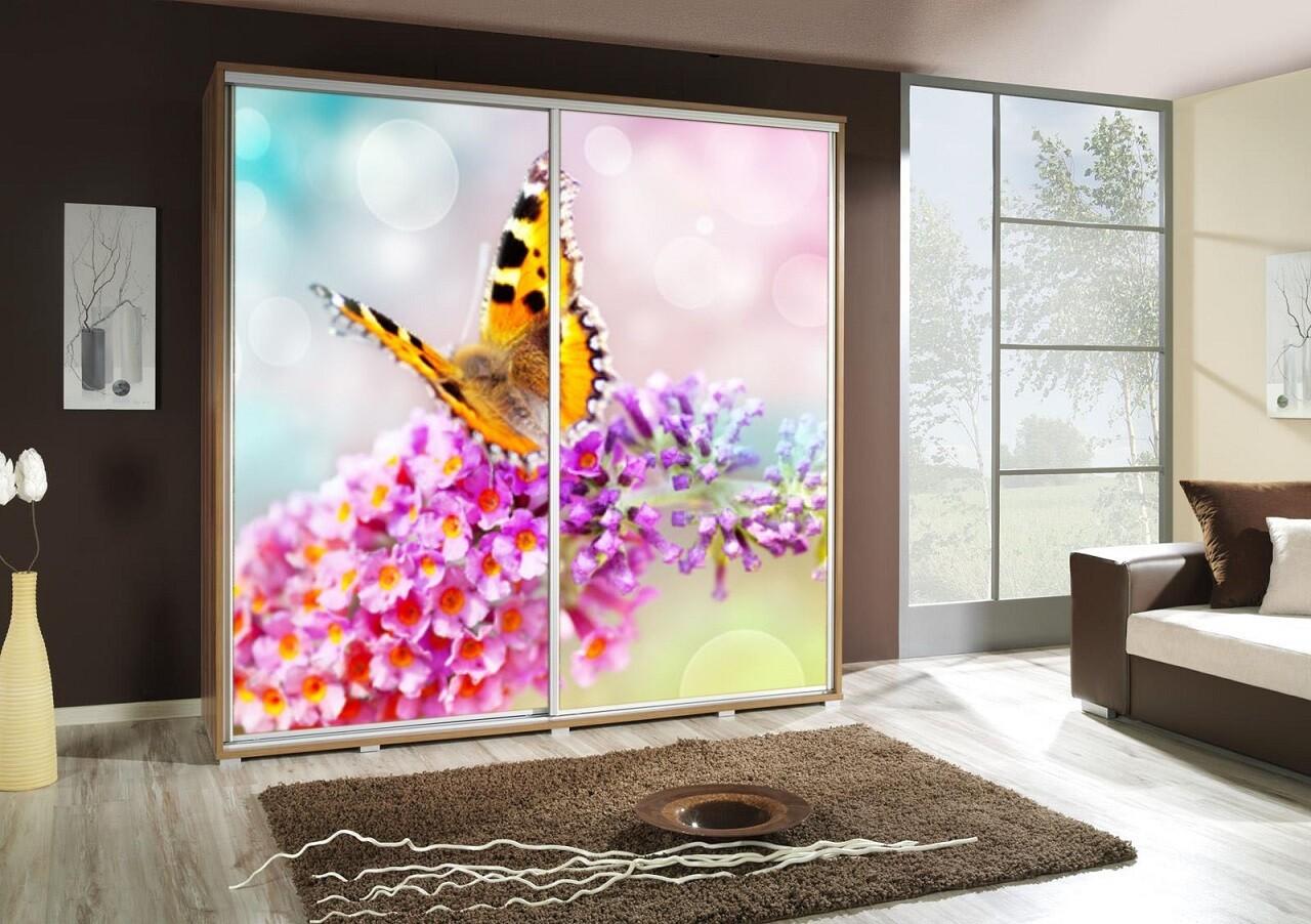 Schiebetürenschrank / Kleiderschrank mit Schiebetür PENELOPA 205cm Motiv: Schmetterling / Butterfly
