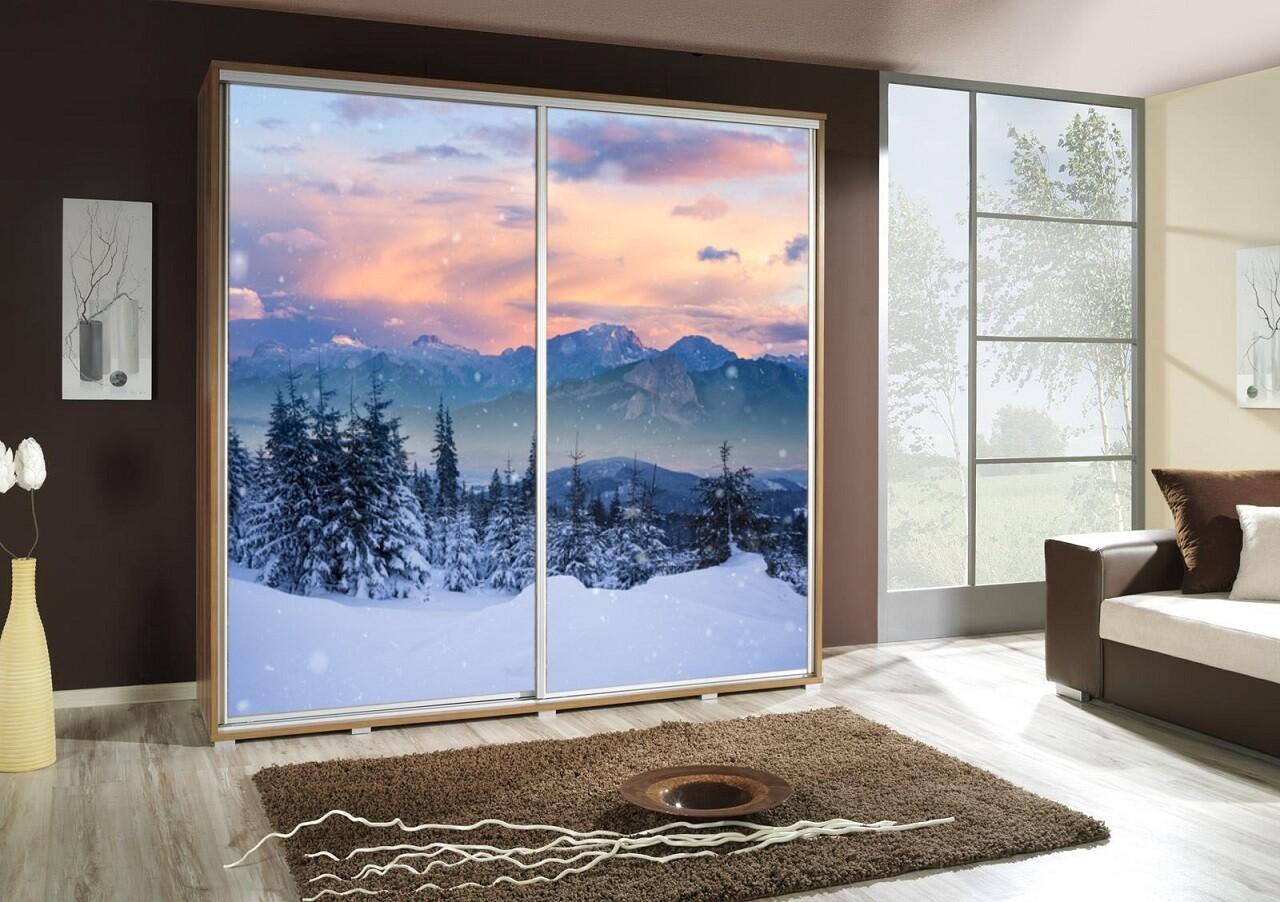 Schiebetürenschrank / Kleiderschrank mit Schiebetür PENELOPA 205cm Motiv: Berge Winter / Mountains IV
