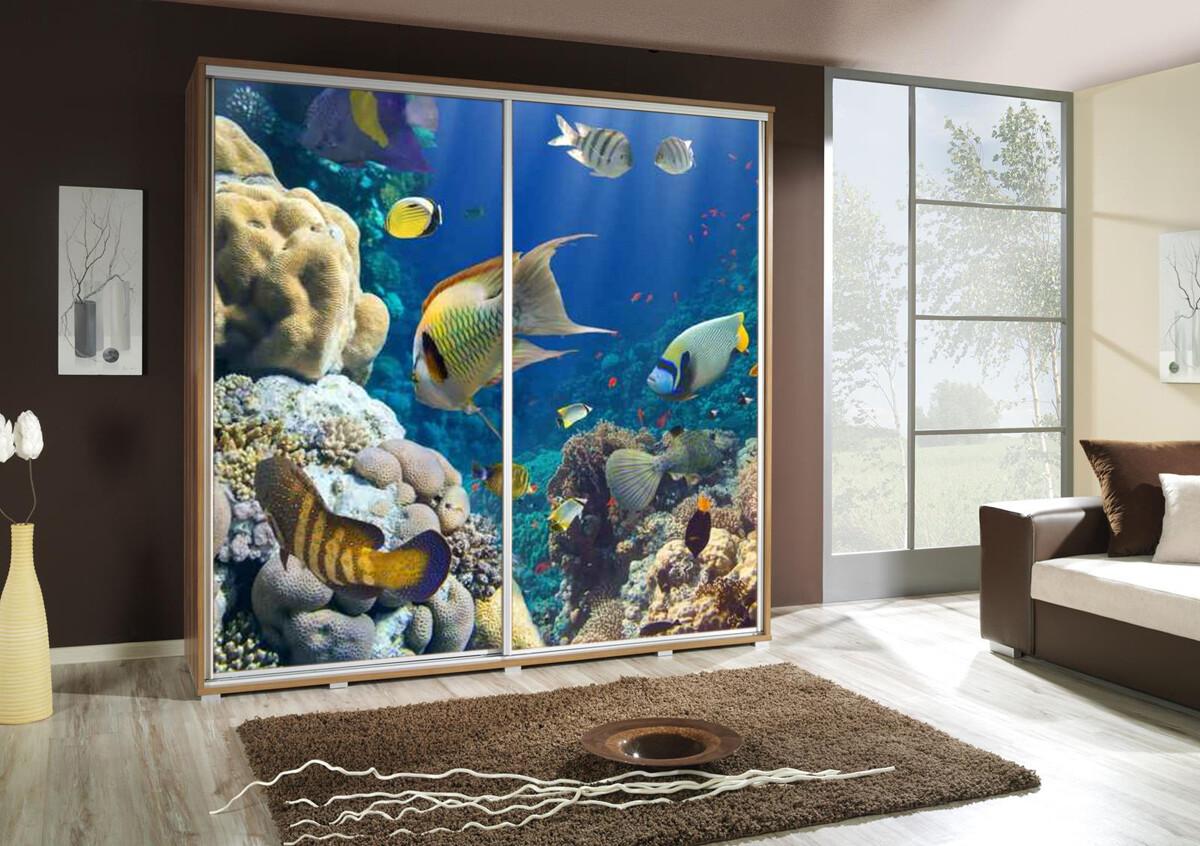 Schiebetürenschrank / Kleiderschrank mit Schiebetür PENELOPA 205cm Motiv: Aquarium