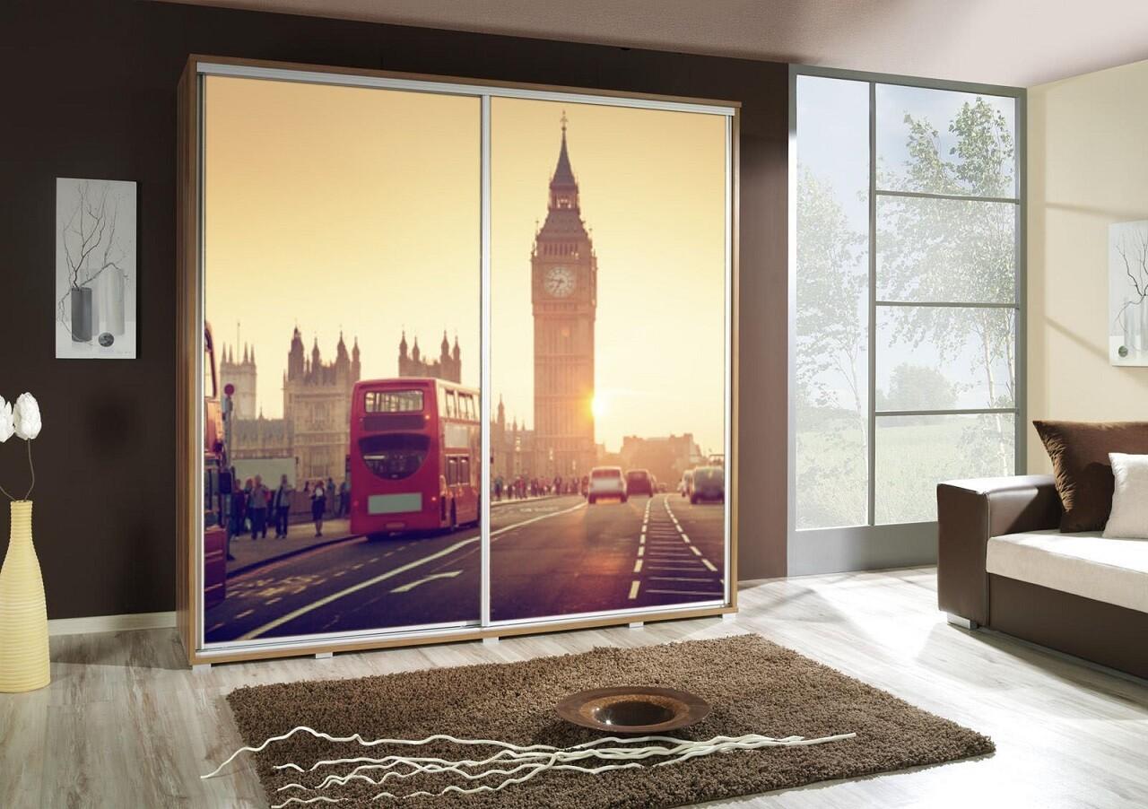 Schiebetürenschrank / Kleiderschrank mit Schiebetür PENELOPA 205cm Motiv: London I