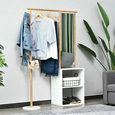 HOMCOM® Garderobenständer Kleiderständer mit Schminkspiegel Regal 4 Haken Bambus Natur