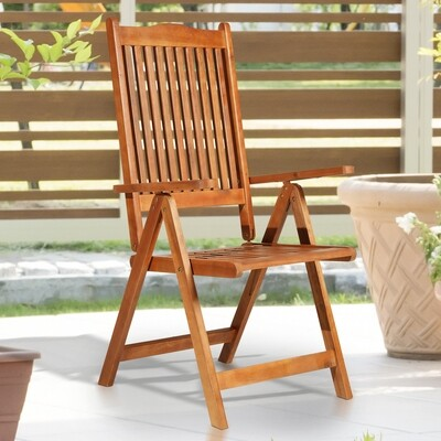 Outsunny® Klappstuhl Gartensessel Gartenmöbel 5-Fach verstellbar Akazienholz geölt 64 x 55 x 110 cm