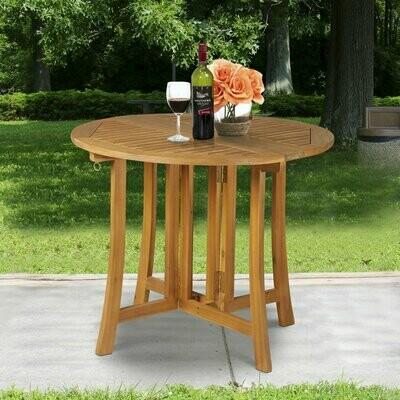 Outsunny® Klapptisch Beistelltisch Gartentisch Holztisch klappbar mit Schirmloch Akazie Natur Ø90 x 78 cm