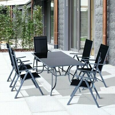 Outsunny® Alu Gartentischset mit schwarzer Glasplatte klappbar, mit 6 Stühlen