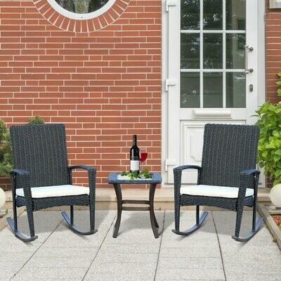 Outsunny® Schaukelstuhl Set Gartenmöbel Dreiteilige Sitzgruppe 2 Stühle 1 Tisch Alu Grau